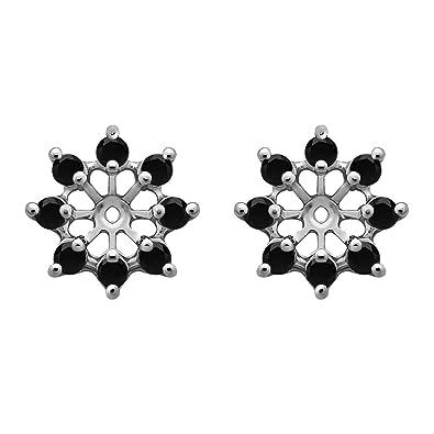 57df51173f5d8 Amazon.com: 1/3 ct. Black Diamonds Star Shaped Stud Earring Jacket ...