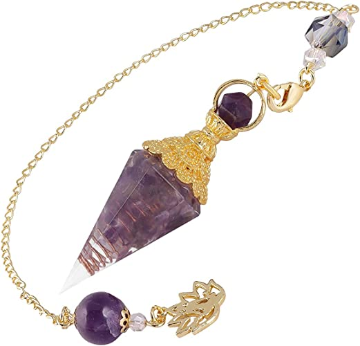 Pendulum Crystal Amethyst Crystal With Pentagram Gold Plated Pagan Wiccan NEW