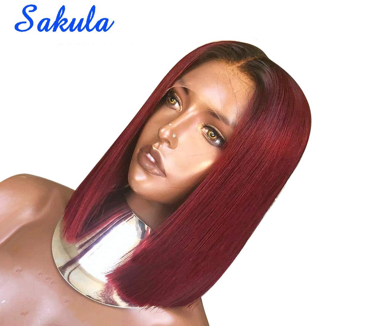 B074BSHZFG Sakula Brazilian Virgin Remy Lace Frontal Bobo Wig with Human Hair 10 Inches 61l5hLwpUuL._SL1250_