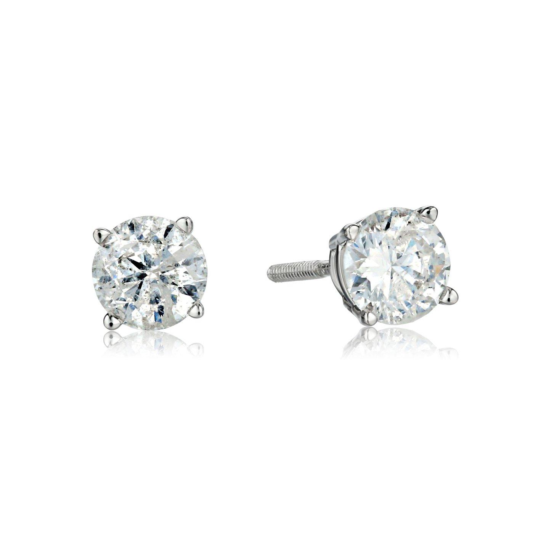 Amazon IGI Certified 10k White Gold Round Cut Diamond Studs