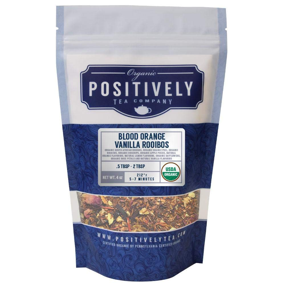 Positively Tea Company, Organic Blood Orange Vanilla Rooibos, Rooibos Tea, Loose Leaf, USDA Organic, 4 Ounce Bag