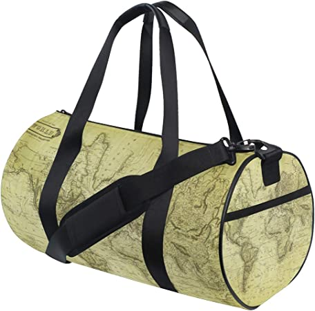 ADONINELP Travel Duffel Bag,Lightweight Durable Designed Gym Sports Bag Fashion Print Weekender Bag Large,Black White Paris Map