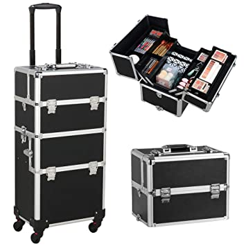 6aa543828b8b Gotobuy 3 in 1 Makeup Organizer Makeup Beauty Nail Case Cosmetics Trolley  Bag Box for Nail Stuff (Black)