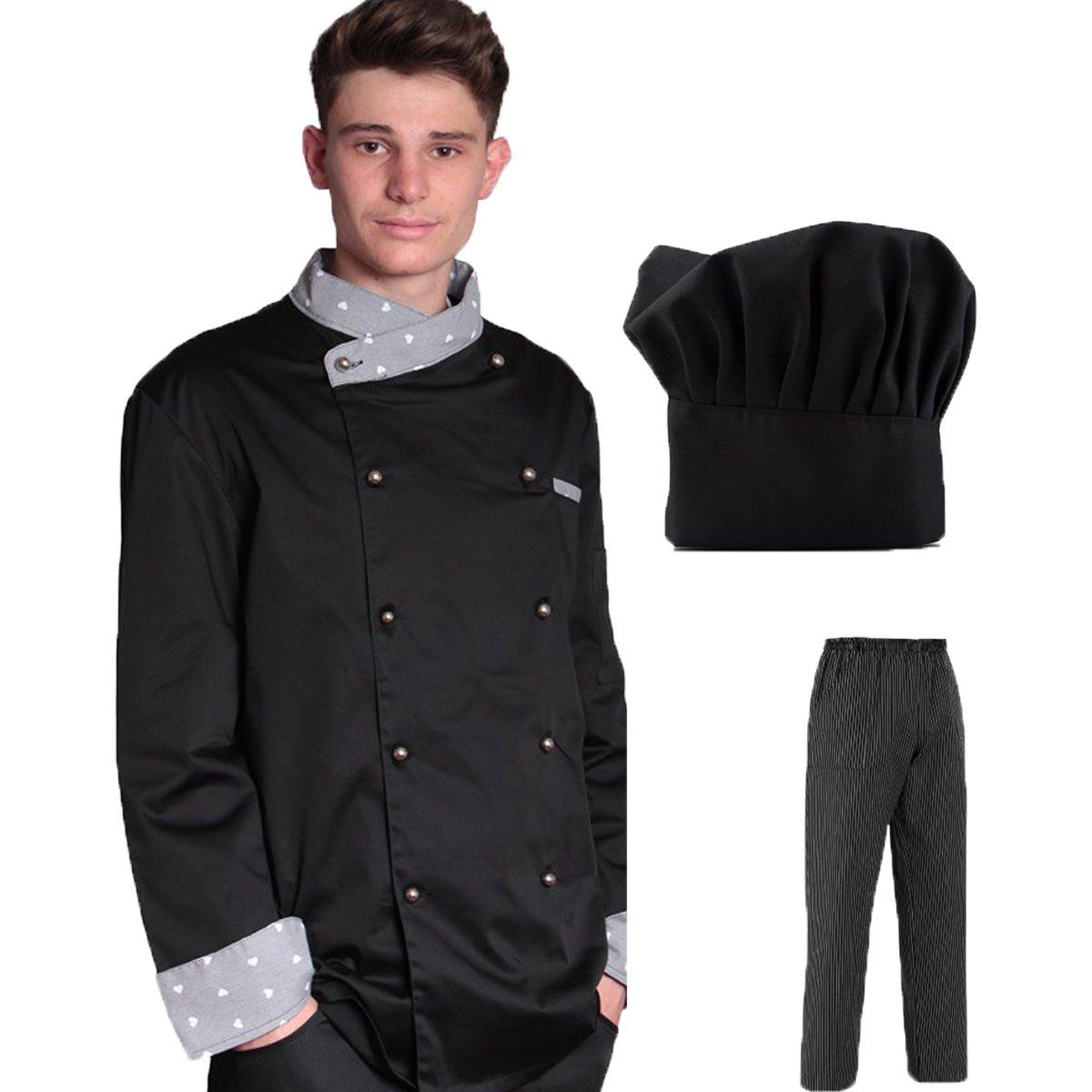 Giacca cuoco cake design con cappello e pantalone nero o jeans da cucina 3 pezzi (giacca + pantalone + cappello) made in italy