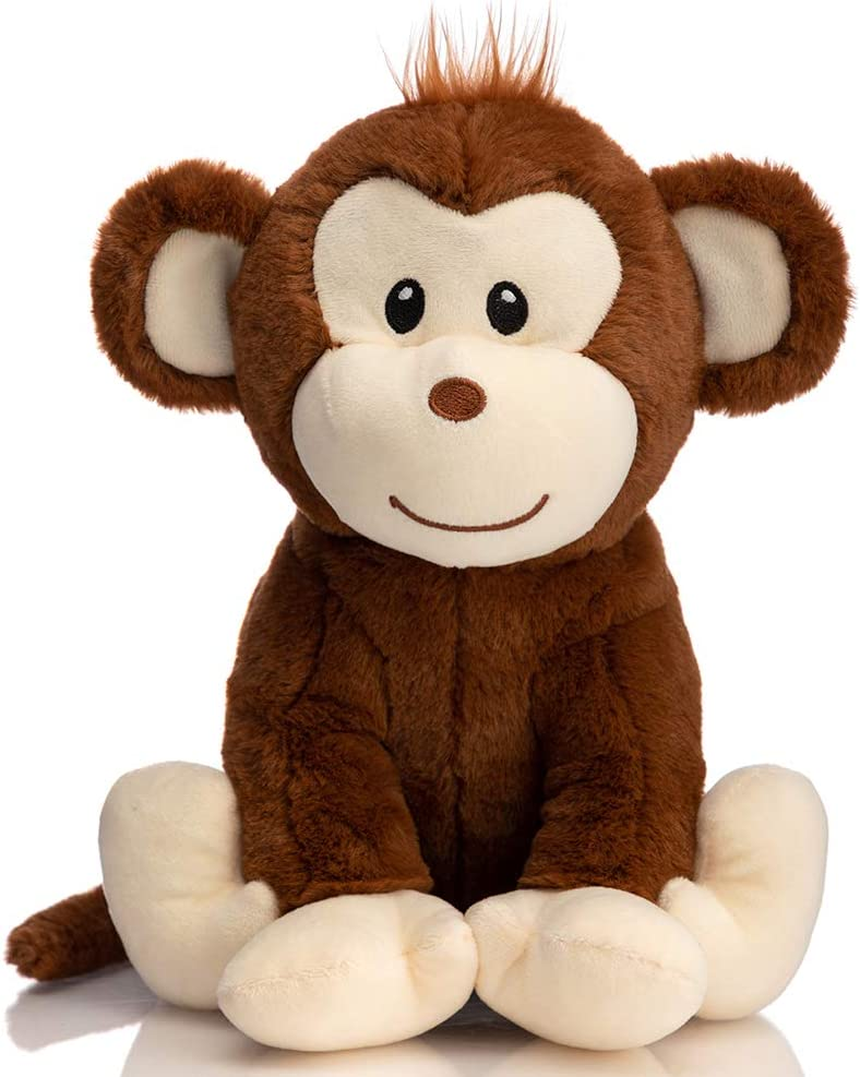 HollyHOME Plush Monkey Stuffed Animals Cute Monkey Toys Birthday Gifts for Kids 12 Inch Brown