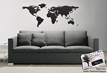 Black World Map Wall Decal Sticker   Stickerbrand Home Decor Vinyl Wall Art  21in X 51in
