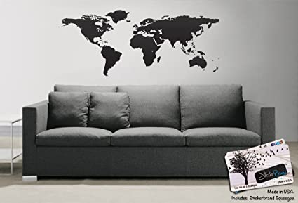 Black world map wall decal sticker stickerbrand home decor vinyl black world map wall decal sticker stickerbrand home decor vinyl wall art 21in x 51in gumiabroncs Choice Image