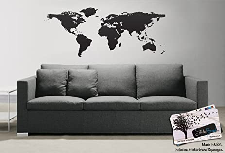 Black world map wall decal sticker stickerbrand home decor vinyl black world map wall decal sticker stickerbrand home decor vinyl wall art 21in x 51in gumiabroncs Gallery