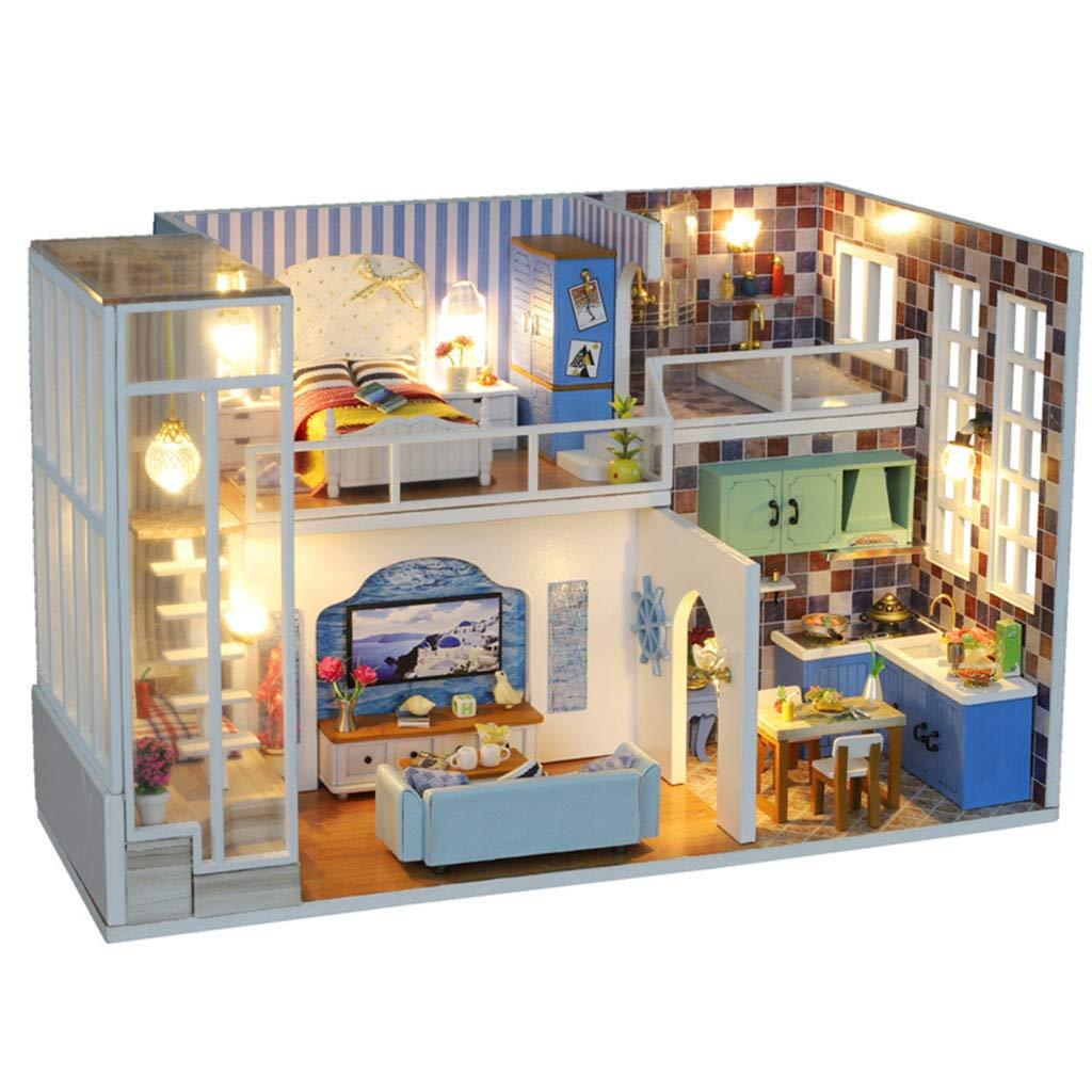 Tianya Hölzernes DIY Miniaturhaus-LED-Hauspuzzle Villenmodell 3D verzieren kreative Geschenke Für Kind Manuelle Puzzle Spielzeug (D)