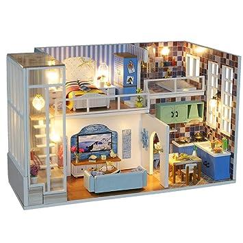Amazon Com Transer 3d Wooden Dollhouse Kit Miniature Diy House