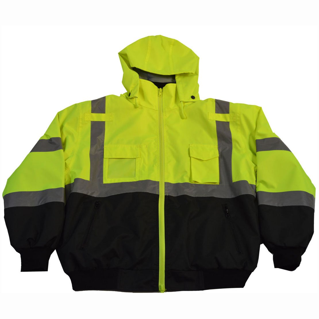 Petra Roc LBBJ-C3-6X High-Vis Bottom Safety Bomber Jacket, 6X-Large, Lime/Black by Petra Roc (Image #1)