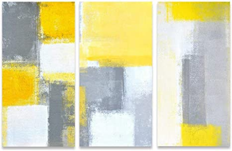 White Gold Blue Grey Yellow Abstract Canvas Wall Art Large Picture Prints