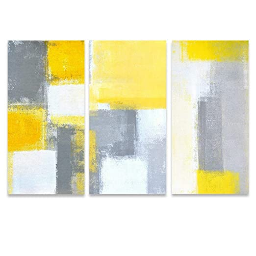 Yellow And Gray Canvas Wall Art.Sumgar Abstract Canvas Wall Art Living Room 3 Piece Modern Paintings Large Yellow Pictures Gray Artwork Prints 16x32 In