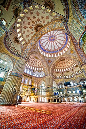 OFILA Blue Mosque Backdrop 3x5ft Interior Giant Dome Grand Building Muslim Style Architecture Religion Belief Classical Ottoman Empire Mediaeval Building Photos - Cupola 1 Light