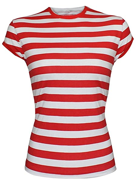ce4daa15fc6e23 WOMEN S LADIES RED   WHITE STRIPE GIRLS T-SHIRT HAT GLASSES SOCKS FANCY  DRESS
