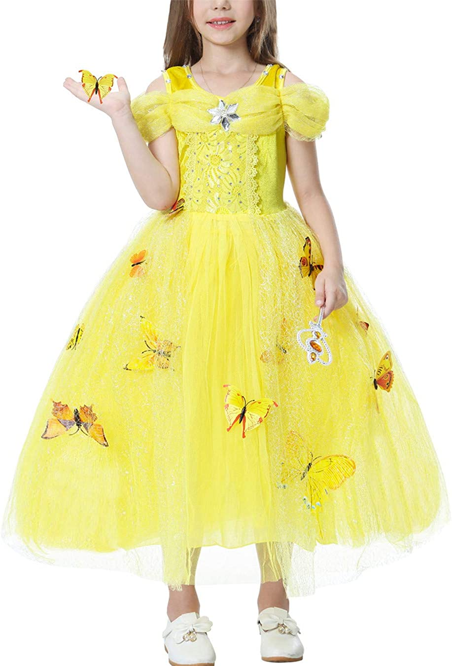 YOSICIL Vestido de Princesa Cenicienta Bella Niñas Disfraz ...