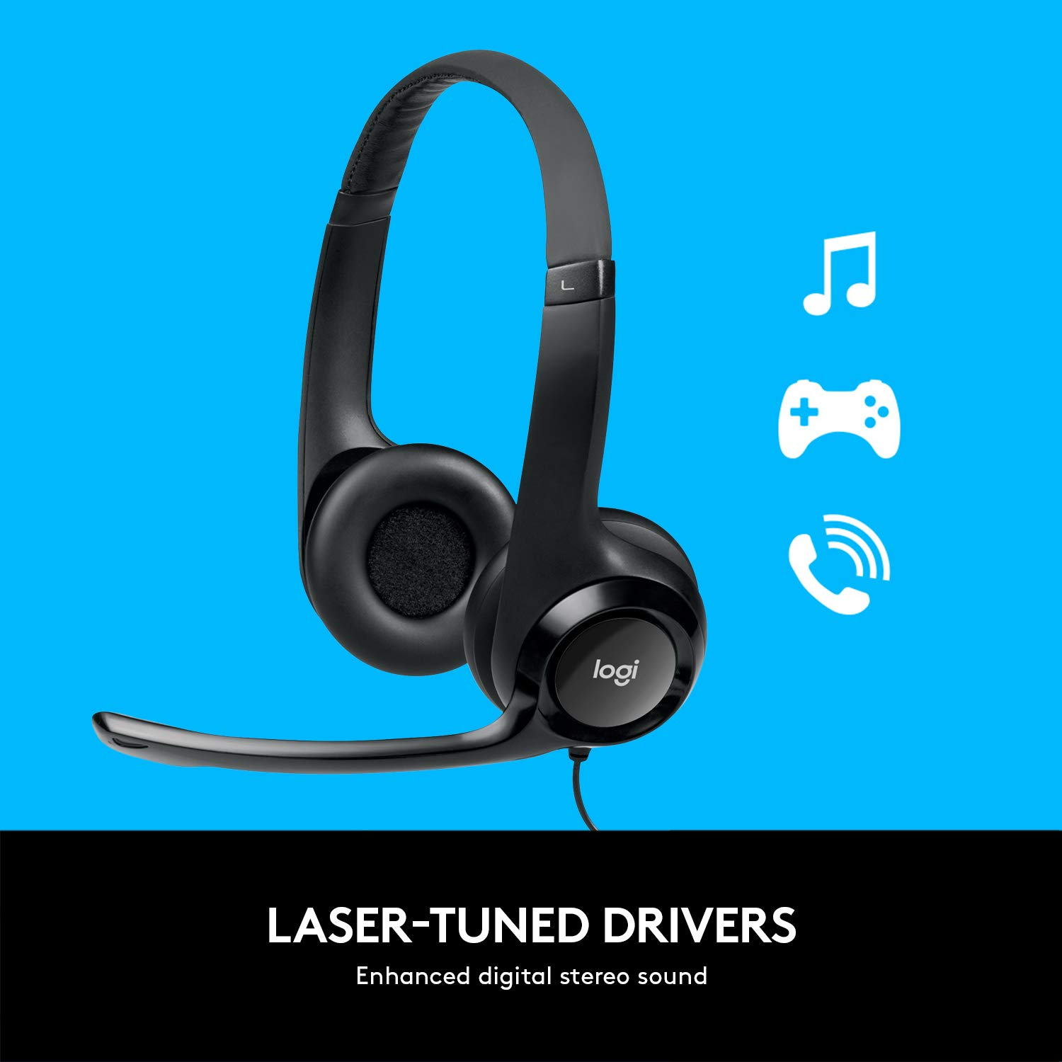 Amazon.com: Logitech USB Headset H390 with Noise Cancelling Mic ...