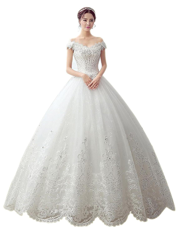 Manfei Damen Kristall Pailletten Spitze Applikation Prinzessin Lange Hochzeitskleid Brautkleid