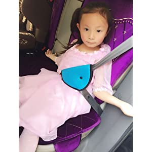 Auto Voiture Porter Ceintures de Sécurité Siège Adjuster Détachable Pratique et Confortable Auto Voiture Protection Epaule Cou pour Enfants Kids Bébé (Bleu)