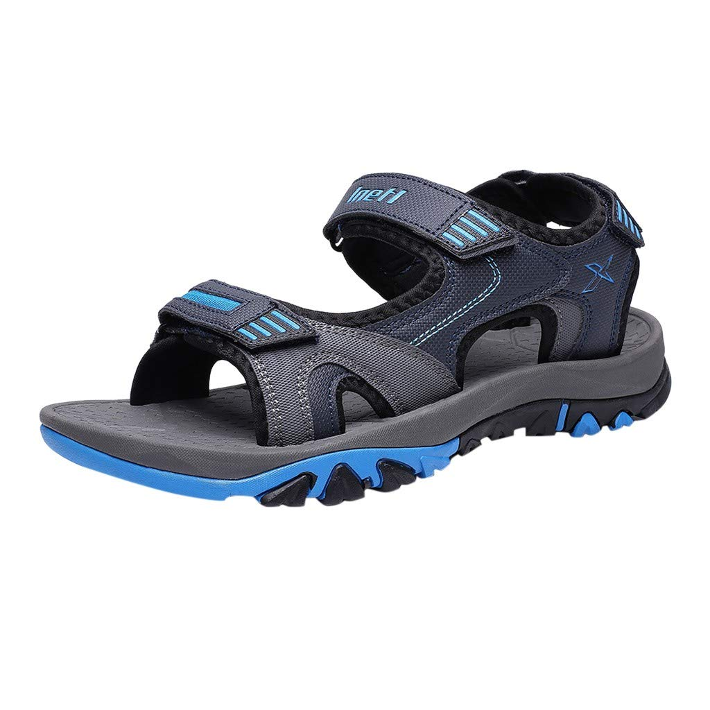 Summer Men Sandals -【MOHOLL】 Mens Leather Sandals Athletic and Outdoor Shoes Casual Beach Sandals Blue