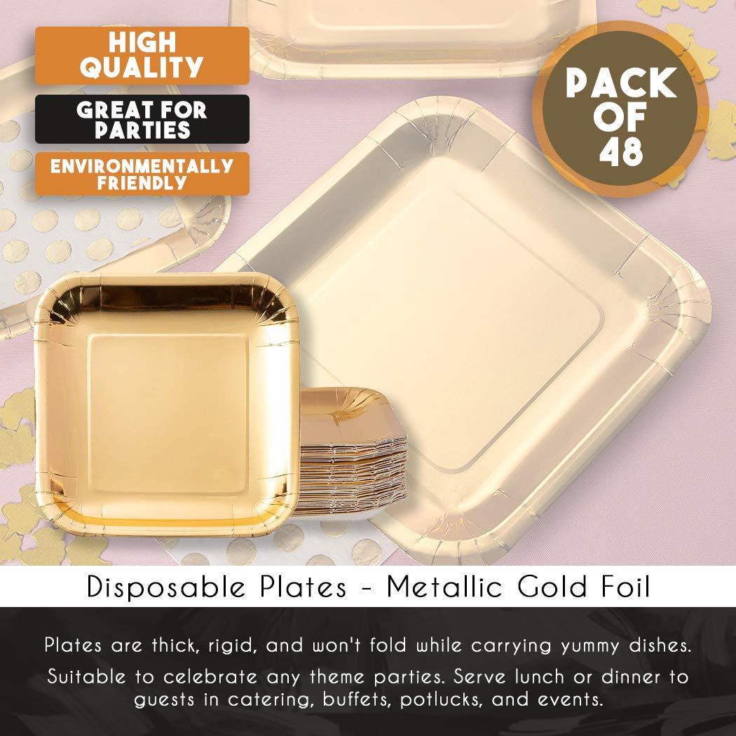 Platos desechables fiesta de cumplea/ños cena y postre almuerzo met/álico dorado Pack de 48 platos de papel cuadrados para fiestas para aperitivos