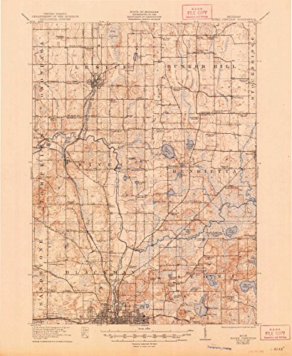 YellowMaps Rives Junction MI topo map, 1:62500 scale, 15 X 15 Minute, Historical, 1921, updated 1948, 20.7 x 16.9 IN - Tyvek - Hill Teaspoon