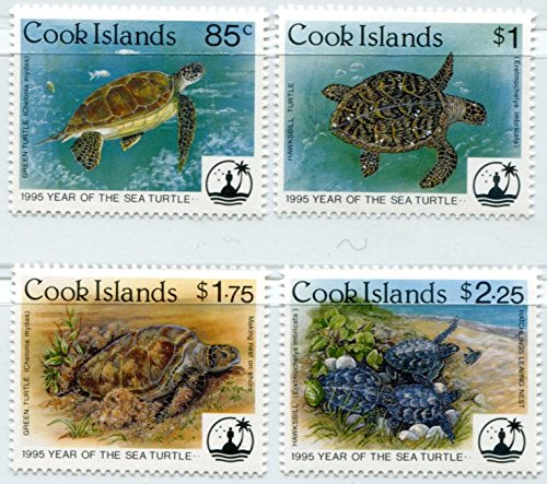 Cook Islands Stamps: 4 Stamp Set, 1995, Year of the Sea Turtle, (Cook Islands Stamps)