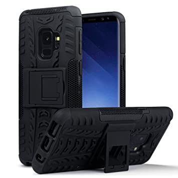 super popular 1bac2 e4ef0 TERRAPIN, Compatible with Samsung S9 Case, Rugged Impact Resistant Dual  Layer Armour Cover with Kickstand - Black