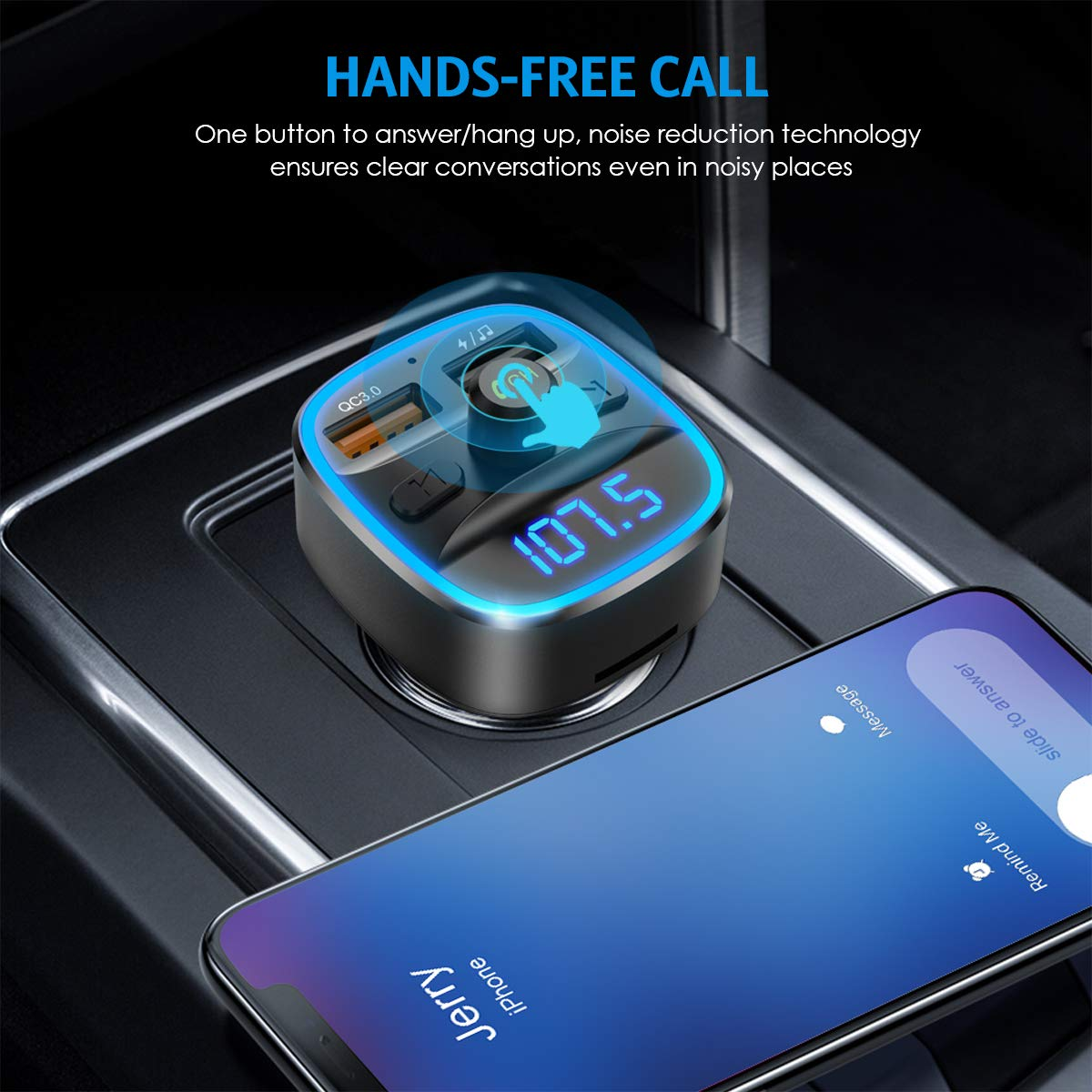Bluetooth FM Transmitter for Car 7 RGB Color LED Backlit Radio Transmitter Supports TF Card Hands-Free Calling 2020 Upgraded New Version QC3.0 Dual USB Ports Adapter Car Kit USB Disk
