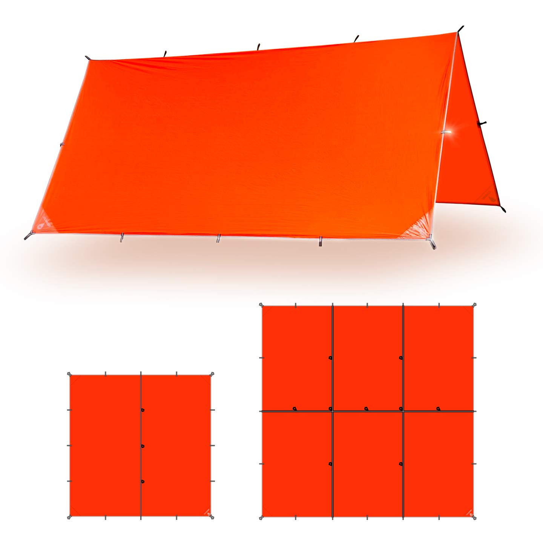 Image of Aqua Quest Survivor Waterproof Tarp - 10x10 or 15x15 Ft Lightweight Ripstop Nylon SIL Tarp - for Camping, Backpacking, Emergency - Orange Tent Tarps