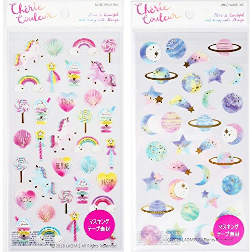 Mind Wave Japanese Masking Washi Foil Stamping Sticker Sheets (Dreamy [ 78858 ] + Galaxy [ 78860 ] - 66 Stickers)