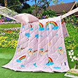 KFZ Summer Quilt Comforter Bedspread for Bed Breathable BDD 4 Sizes with Rainbow Smile Cloud Pretty Leaves White Flower Love Designs for Children Adult One Piece (Rainbow,Pink, Twin,59''x79'')