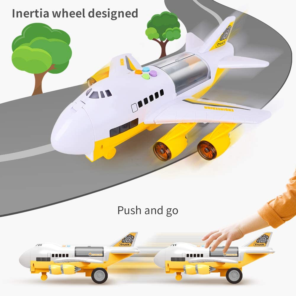 Carrier Truck Car Toy with Music /& Light for Kids Toddler Boys LBLA Construction Trucks Toys Set with Airplane Transport Educational Engineering Vehicle Play Set with Scene Playmat
