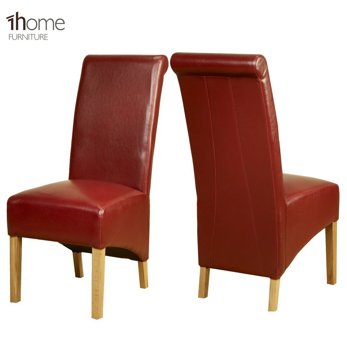 1home Leather Dining Chairs Scroll High Top Back Oak Legs Furniture ...