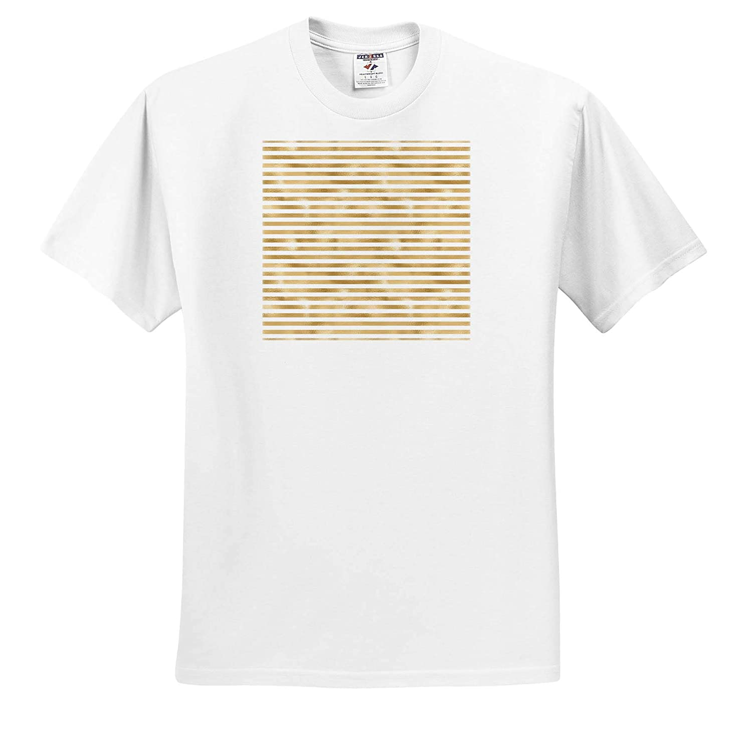 Patterns Glam White and Gold Color Stripes Pattern T-Shirts 3dRose Anne Marie Baugh
