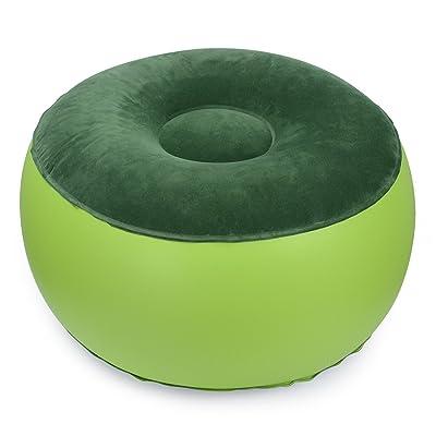 Air Chaise portable équilibre durable extérieur Chaise de camping gonflable Tabouret Repose-pied Coussin pour Home Office Yoga Green