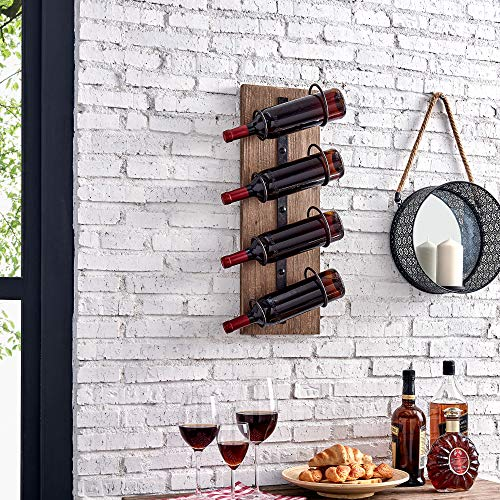 FirsTime & Co. Cooper Wine Rack, 24″H x 8″W x 5.5″D, Rustic Metallic Gray, Antique Wood
