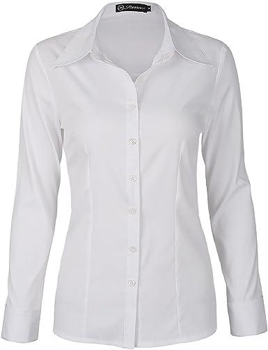 SUNNOW Blusa Blanca para Mujer Estilo Clástico Mangas Largar con Botones (EU 38, Blanco): Amazon.es: Ropa y accesorios