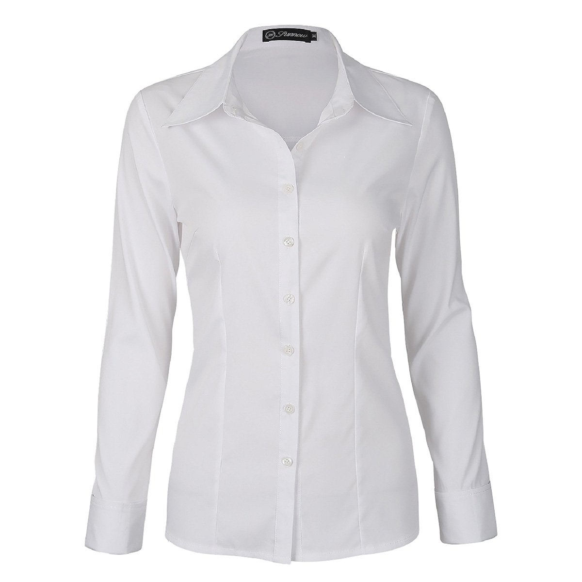 Sunnow Women Simple White Collared Long Sleeves Button Down Shirt