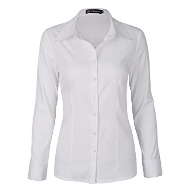 0ec4e010 SUNNOW Women Simple White Collared Long Sleeves Blouse with Button (S, White )