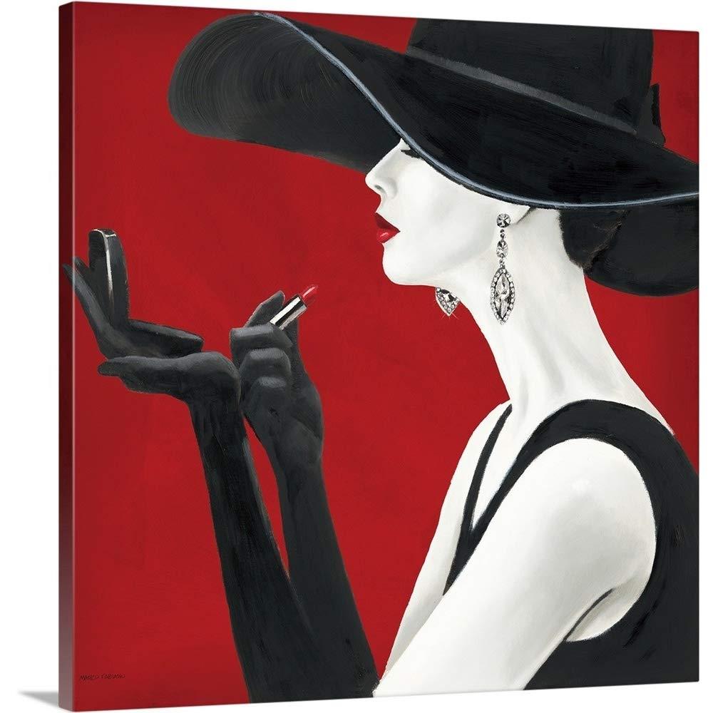 Marco Fabianoプレミアムシックラップキャンバス壁アート印刷題名Haute ChapeauルージュII 36