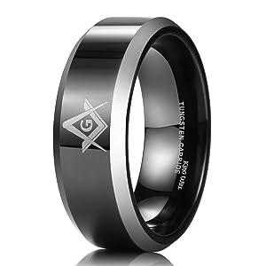 King Will 8mm Black Men's Tungsten Carbide Ring Polished Masonic Compass Square Free Mason 12