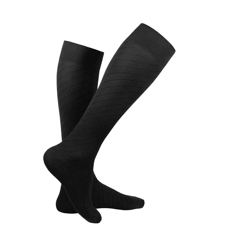 Truform Travel Socks for Men and Women, 15-20 mmHg Compression, Black, Large