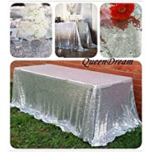QueenDream 90''x132''Luxury silver sequins tablecloth for dinner table runner and placemats