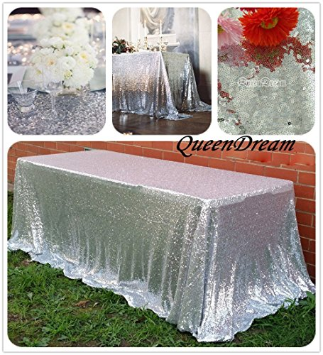 QueenDream silver sequins tablecloth 90x90 long sequin tablecloth sequin fabric for Wedding and Thanksgiving Day Christmas