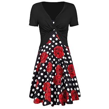 208d64f0eaf24 Amazon.com: NEARTIME Women's Summer Dresses, 2019 New Rose Polka Dot ...