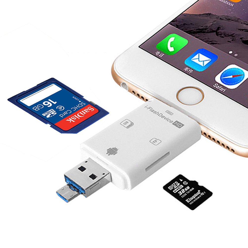 SD/TF Micro Card Reader,MYECOGO SD Card USB Adapter all-in-1 Flash Memory Card Reader External Storage Memory Expansion for iPhone/ipad/ MAC/ PC/ Android Device, Lightning/ USB/ Micro , 3 in 1