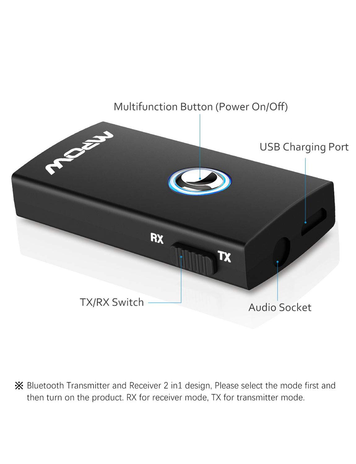 Mpow Bluetooth Transmitter Receiver,Bluetooth Transmitter for TV, Bluetooth Receiver for Car Home Stereo System(A2DP/AVRCP), 2-in-1 Wireless Portable Bluetooth Kits for CD-Like Music by Mpow (Image #7)