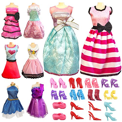 Barbie Doll Clothes Dresses Set Total 17pcs - 5 Set Fashion Mini Dress For Barbie Doll Handmade Short Clothes Party Gown Clothes + 12 Pairs Shoes for Barbie Doll Girl's Birthday Christmas Gift Barbie Vintage Shorts