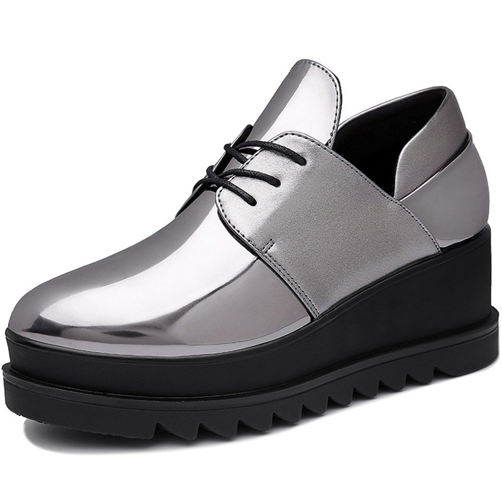 Womens Fashion Sneakers Thick Bottom Patent Leather for Girls Anti-slip Rubber Sole Lace up Casual Shoes